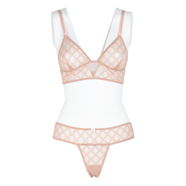 Pale pink GG embroidered tulle lingerie set