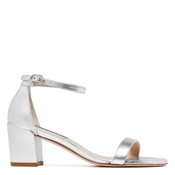 Simple metallic silver sandals