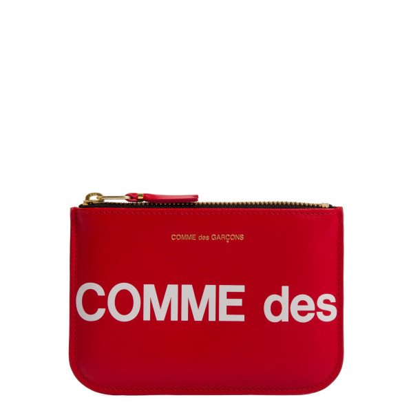 Red leather logo pouch