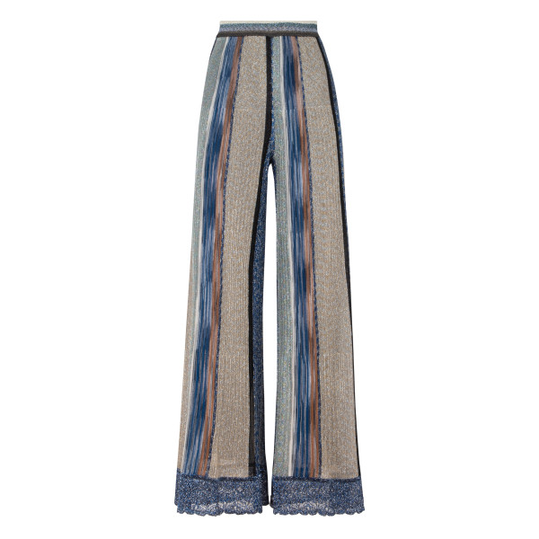 Golden and blue wide leg pants