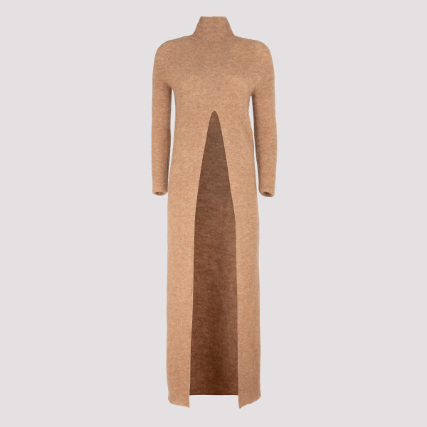 Dark beige long dress with...