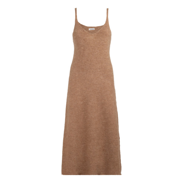 Dark beige wool-blend slip dress