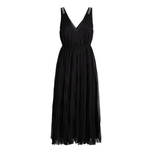 Black pleated tulle dress