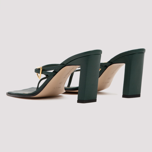 Yara green leather sandals