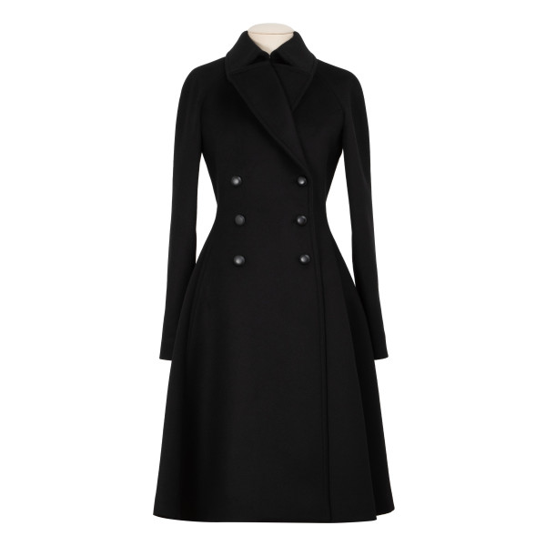 Black double-breasted drap coat