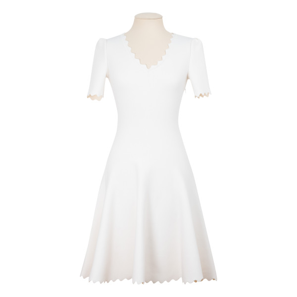Pearl white wool-blend jersey dress