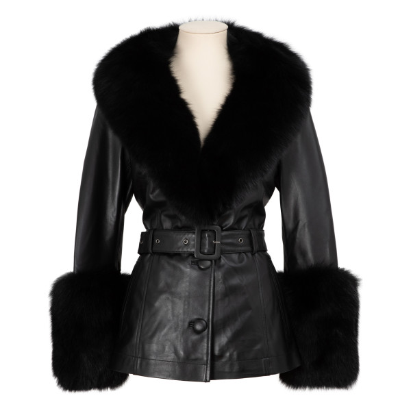 Black leather and fur shorty jacket