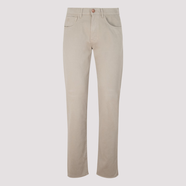 Beige stretch cotton pants