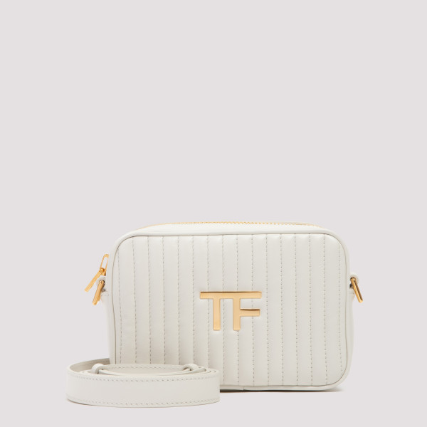 TF white leather camera bag