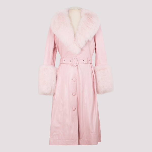 Baby pink leather coat with...