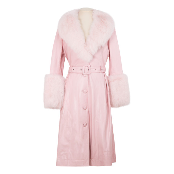 Baby pink leather coat with fur trims