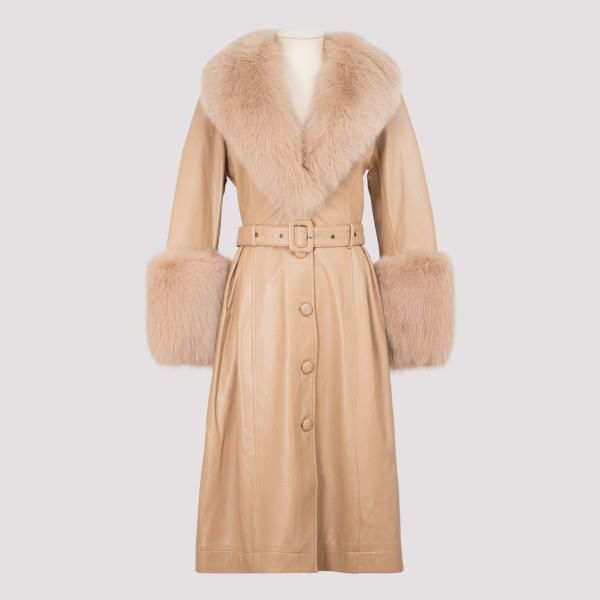 Beige leather coat with fur...