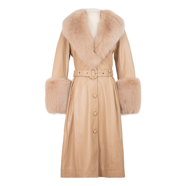 Beige leather coat with fur trims
