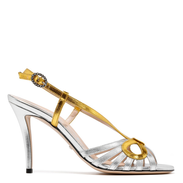 Metallic gold and silver sandals