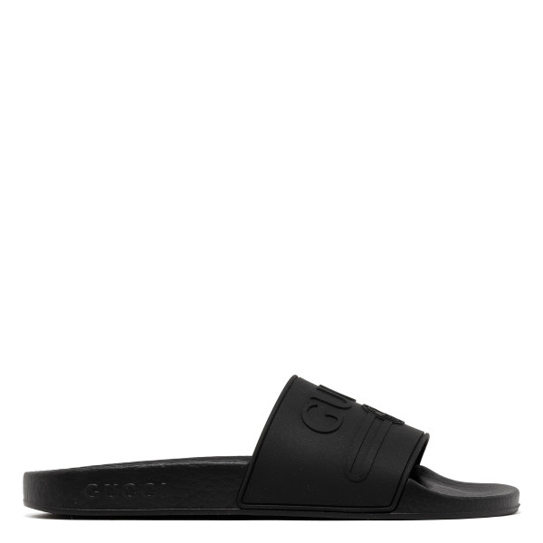 Logo black rubber slide sandals
