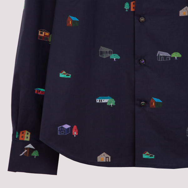 Gents s/c slim shirt with all-over graphic print