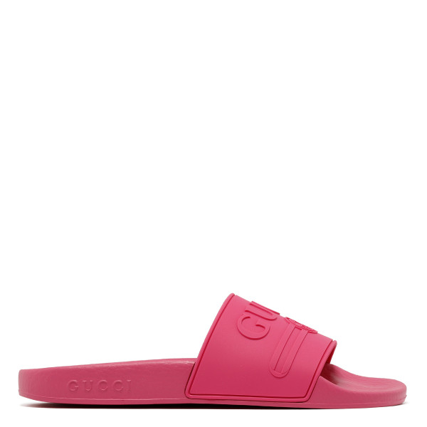 Logo fuchsia rubber slide sandals