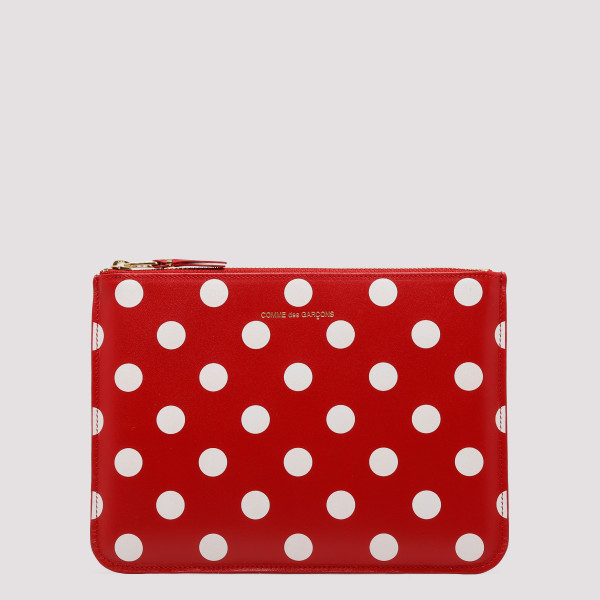 Red polka dots printed...