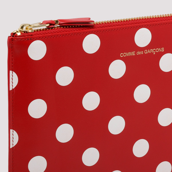 Red polka dots printed leather wallet