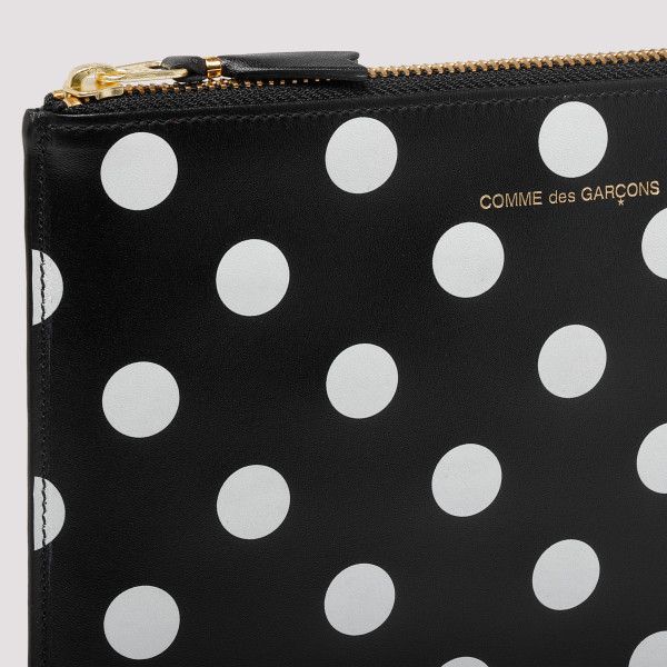 Black polka dots printed leather wallet