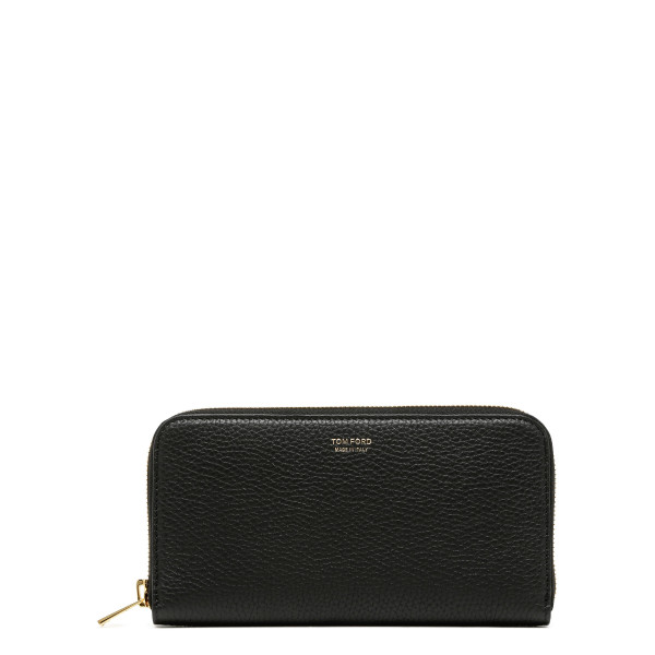 Black zip-around wallet