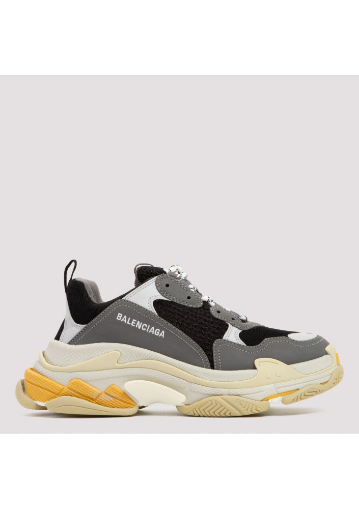 Gray and yellow Triple S sneakers