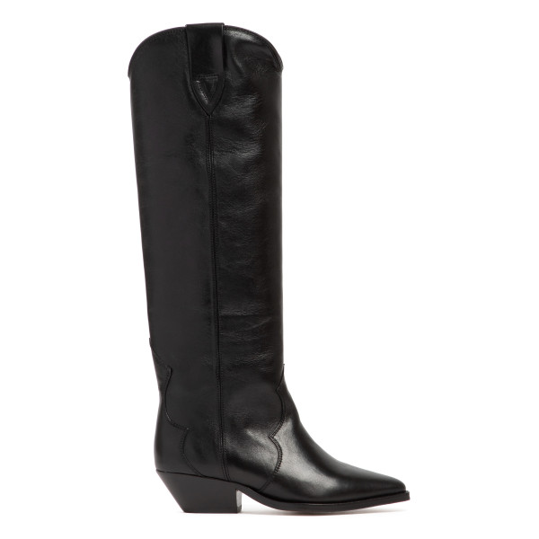 Denvee black leather high boots