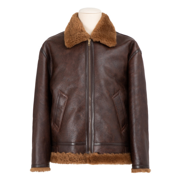 Brown shearling jacket with logo