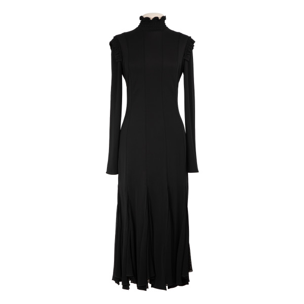 Viscose crepe jersey midi dress with inserts