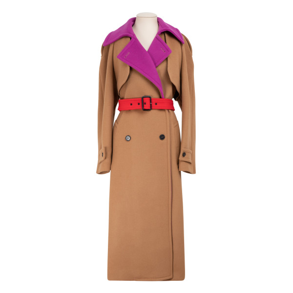 Color-block wool blend trench