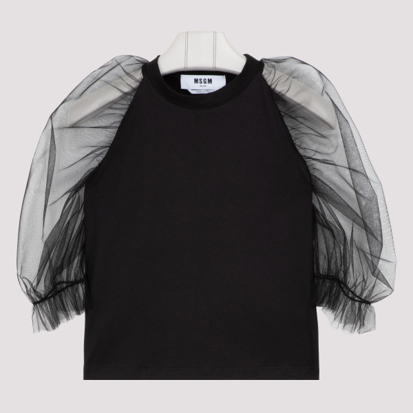 Black jersey T-shirt with...