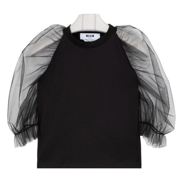 Black jersey T-shirt with balloon sleeves