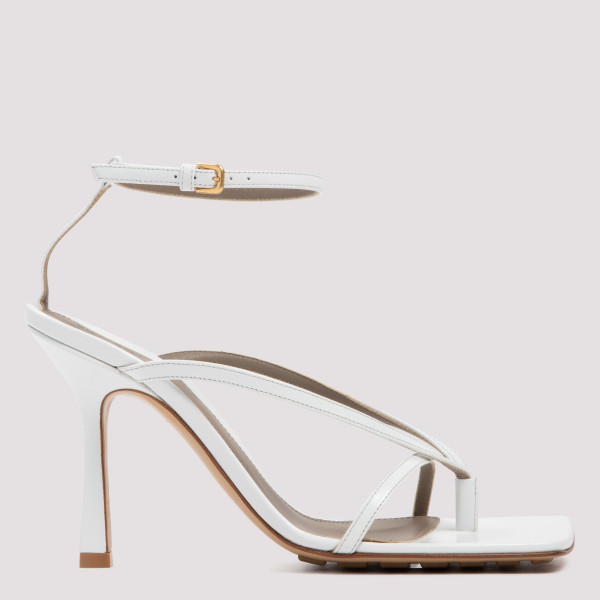 Stretch white leather sandals