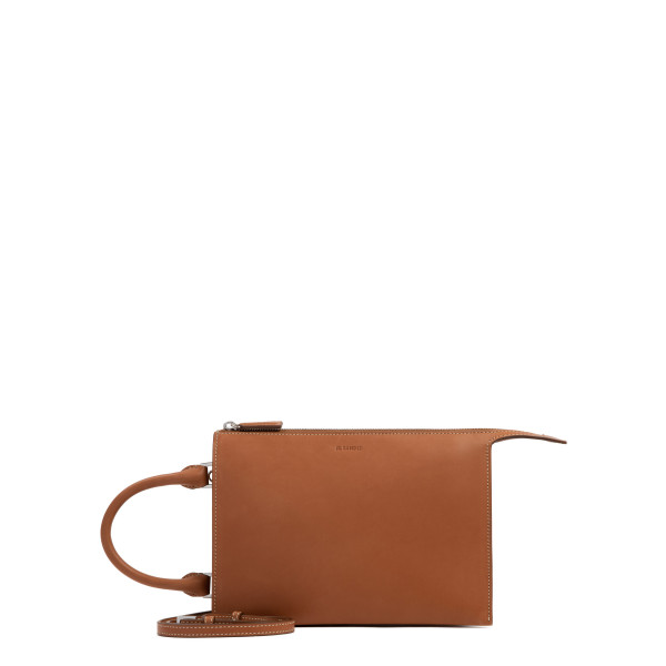 Tootie rust-hue leather small clutch