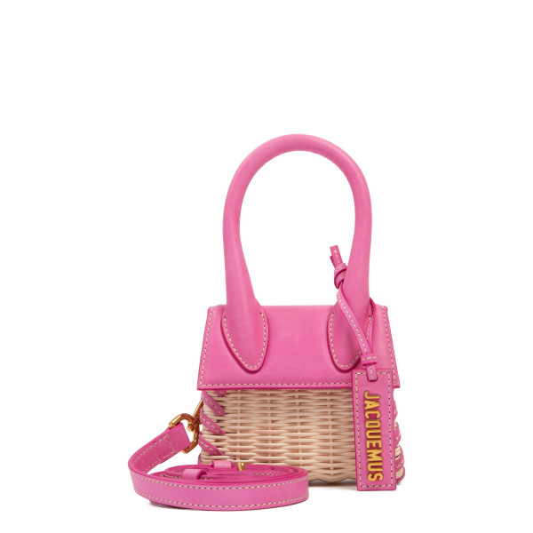 Le Chiquito pink leather and wicker mini bag