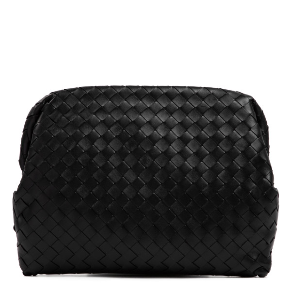 Black intrecciato leather pouch
