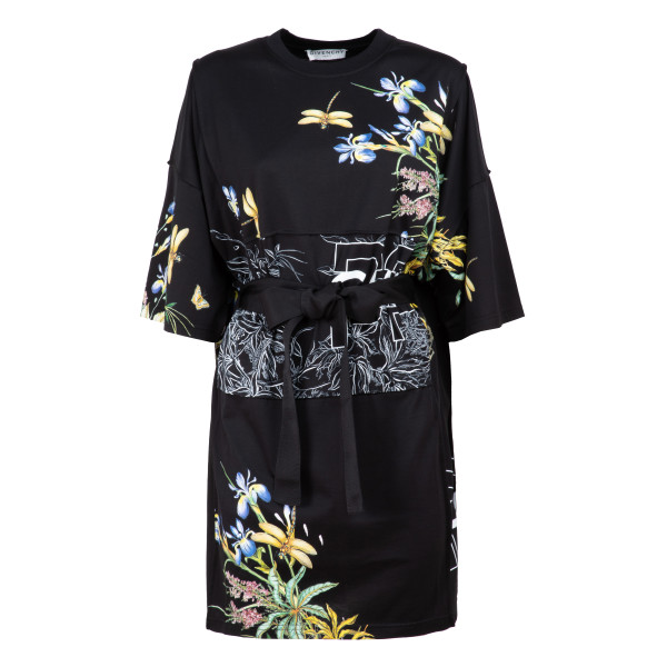 Belted short flowered dress