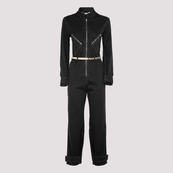 Black denim jumpsuit with logo