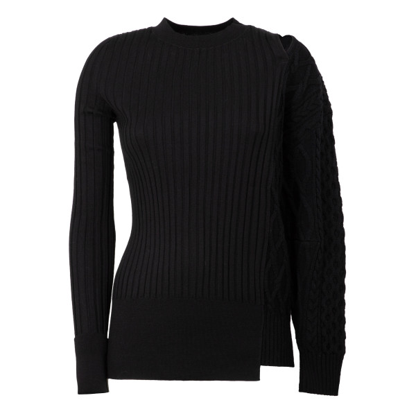 Black knit patchwork jumper