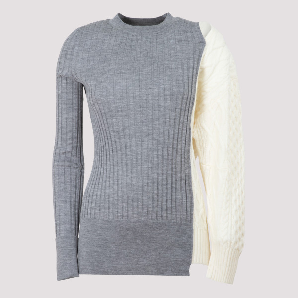 Gray and ivory knit...