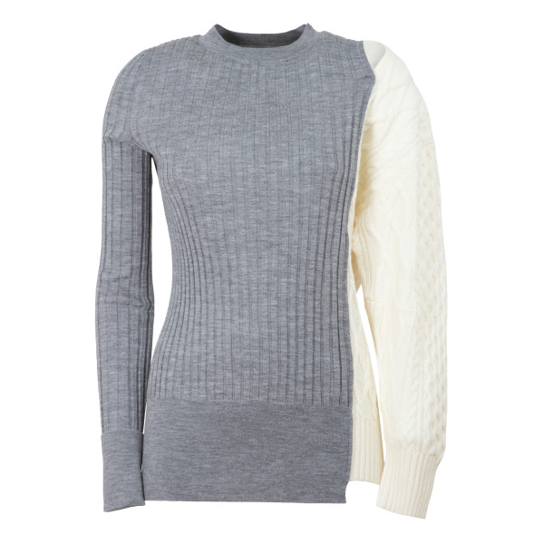 Gray and ivory knit patchwork jumper