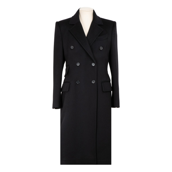 Black cashmere double breasted coat