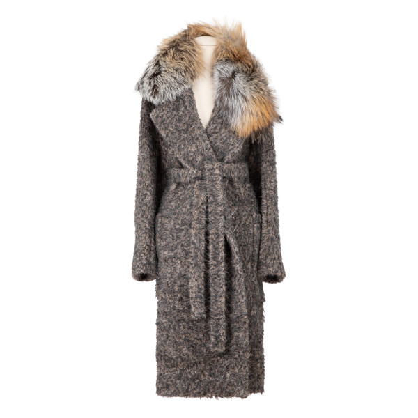 Gray Licenza belted coat