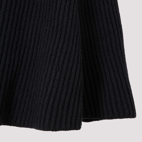 Black rib wool skirt