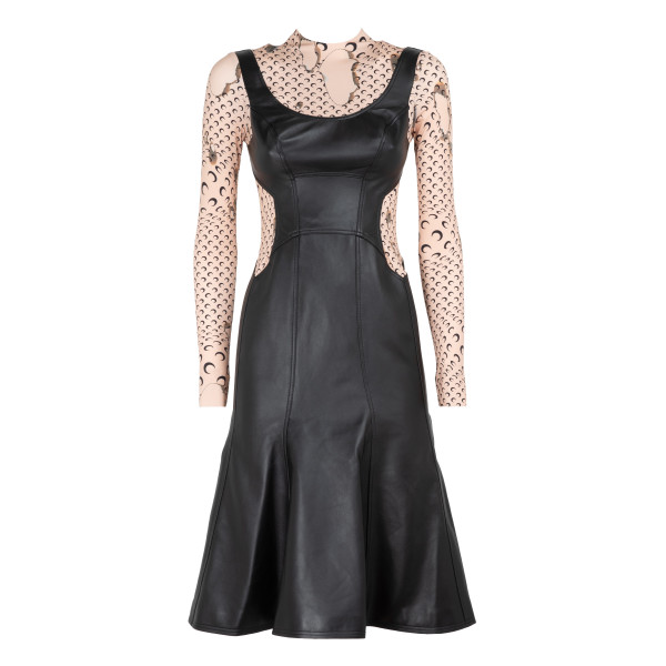 Regenerated leather hybrid dress