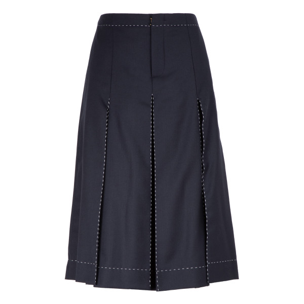 Blue wool-blend pleated skirt