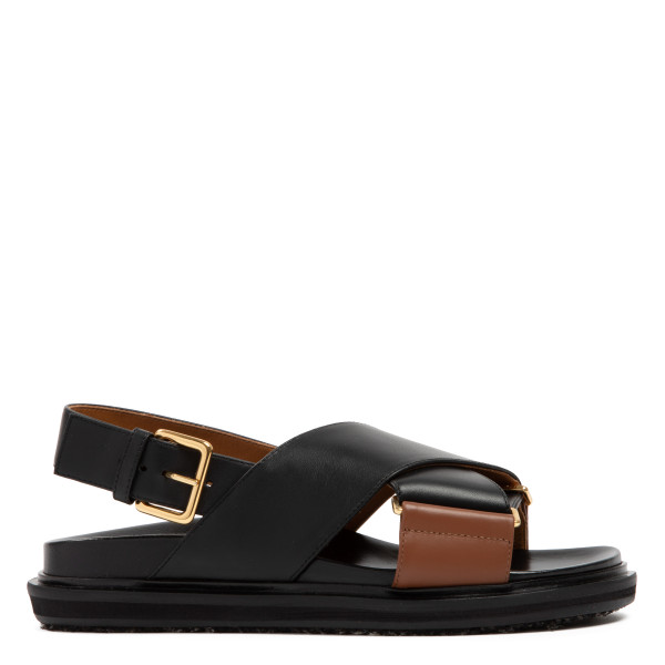 Fussbett black and brown leather sandals