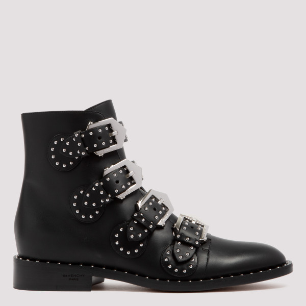 Black studded leather boots
