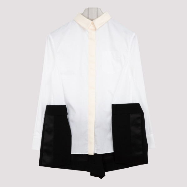 Panelled cotton poplin shirt