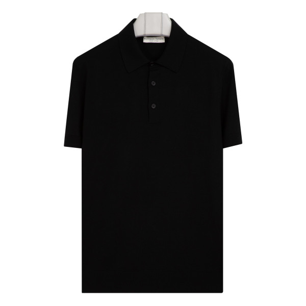 Black short-sleeve polo shirt